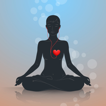 Ilustración de Woman is sitting in lotus position and meditating. Dark silhouette on blue-brown background. Listen to your heart and live in harmony - Imagen libre de derechos