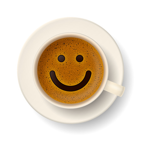 Illustrazione per Coffee cup with froth in the form of smiley face. Good mood and vivacity for active day - Immagini Royalty Free