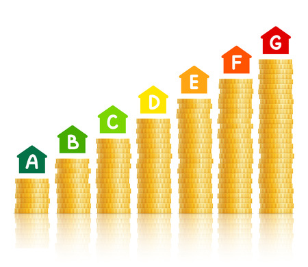 Illustration pour House icons with energy efficiency marking, stacks of gold coins demonstrating level of expense in accordance with chosen type of energy efficiency. Energy saving and energy consumption concept - image libre de droit