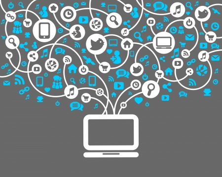 Illustration for Social Network background of the icons vector - Royalty Free Image