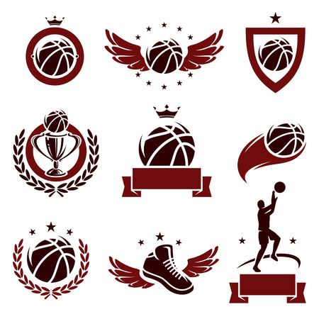 Basketball labels and icons set  Vector