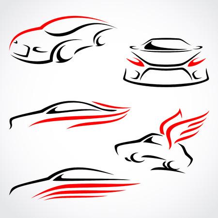 Illustration pour Cars abstract set  Vector  - image libre de droit