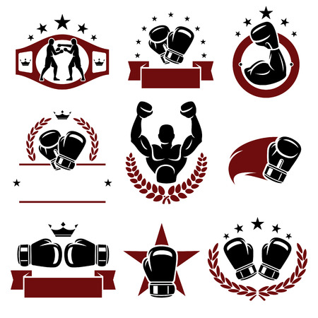 Boxing labels and icons set  Vector