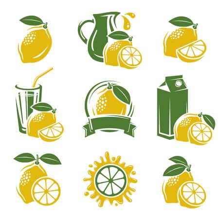 Ilustración de Lemon labels and elements set  Vector  - Imagen libre de derechos