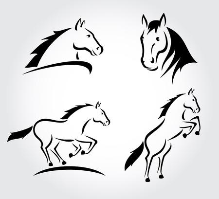 Illustration pour Horse set  Vector - image libre de droit