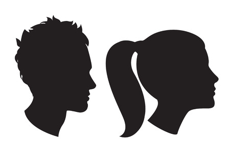 Illustration pour Vector Illustration Icons of Woman and man head silhouette - image libre de droit