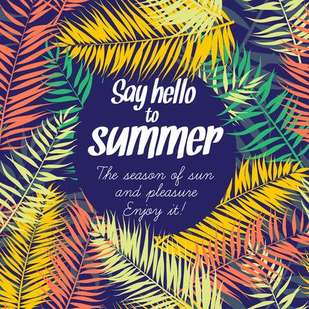 Ilustración de Vector illustration Color palm leaves frame for your text. Flat style - Imagen libre de derechos