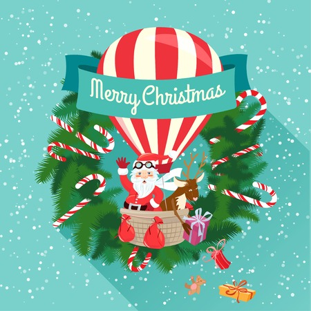 Vector illustration Festive Merry Christmas greeting card with Santa Claus and his deer flying on air balloon giving presents and toys. Flat style