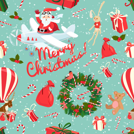 Vector illustration Festive Christmas and New Year seamless pattern in vintage flat style.