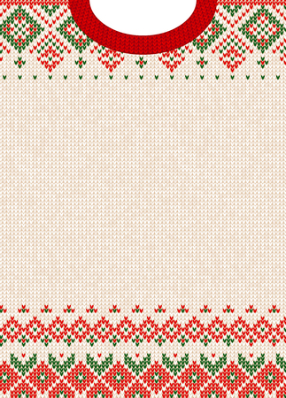 Illustration for Knitted sweater with Christmas design. - Royalty Free Image
