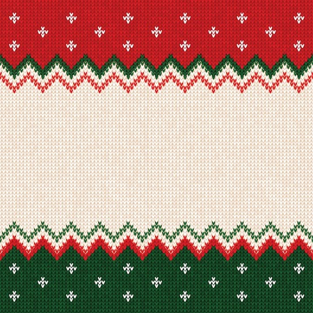 Illustration for Ugly sweater Merry Christmas and Happy New Year greeting card frame border template. Vector illustration knitted background pattern with scandinavian ornaments. White, red, green colors. Flat style - Royalty Free Image
