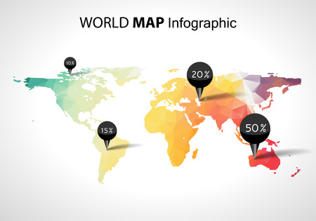 Illustration pour Abstract world map with tags, points and destinations vector - image libre de droit