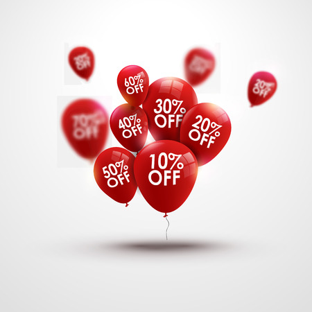 Illustration pour Trendy beautiful background with red baloons and discounts vector - image libre de droit