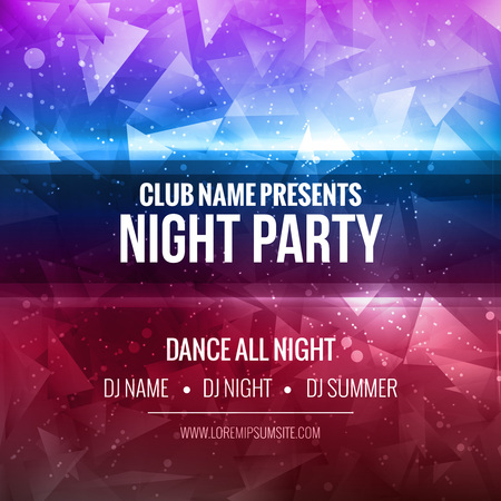 Illustration for Night Dance Party Poster Background Template. Festival mockup - Royalty Free Image