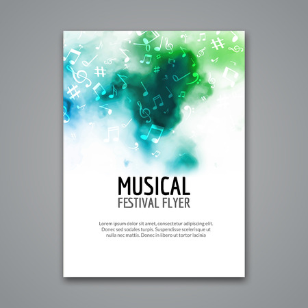 Illustration for Colorful vector music festival concert template flyer. Musical flyer design poster with notes. - Royalty Free Image