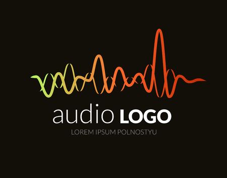 Ilustración de Logo sound wave, studio music dj. Audio system. Brand, branding. Company corporate identity or logotype. Clean and modern style design. - Imagen libre de derechos