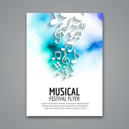 Illustration pour Colorful vector music festival concert template flyer. Musical flyer design poster with notes. - image libre de droit