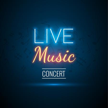 Illustration pour Neon Live Music Concert Acoustic Party Poster Background Template with spotlight and stage. - image libre de droit