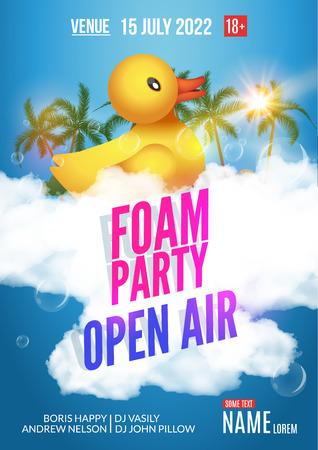 Ilustración de Foam Party summer Open Air. Beach party foam party poster or flyer design template. - Imagen libre de derechos