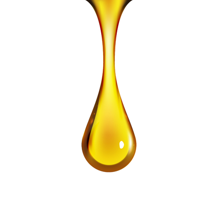 Ilustración de Golden oil drop isolated on white. Olive or fuel gold oil droplet concept. Liquid yellow sign. - Imagen libre de derechos