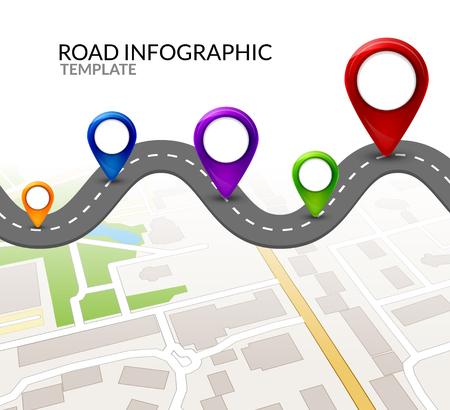 Illustration pour Road infographic. Colorful pin pointer. Road street infographic vector illustration design. Business map template. - image libre de droit