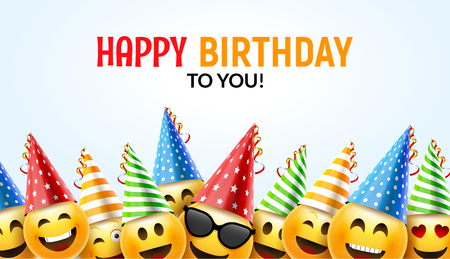Ilustración de Happy birthday smiley greeting card vector illustration. - Imagen libre de derechos