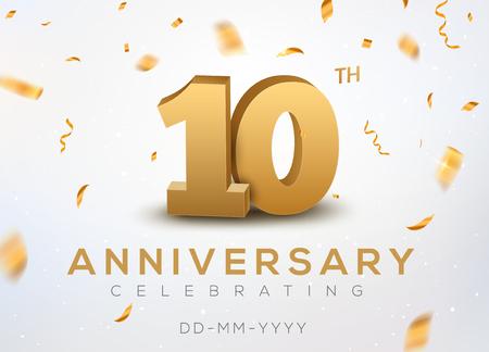 Ilustración de 10 Anniversary gold numbers with golden confetti. Celebration 10th anniversary event party template. - Imagen libre de derechos
