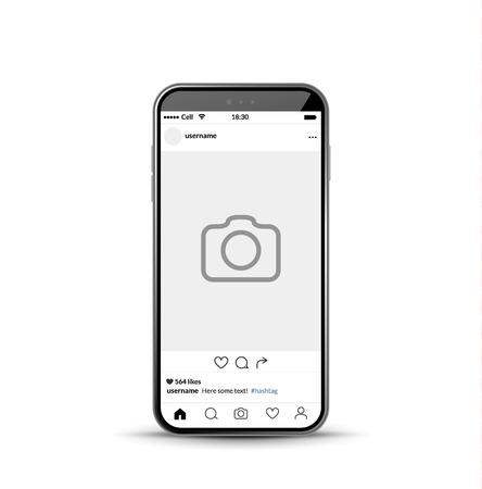 Illustration pour Social network photo frame mobile template. Social media app vector illustration. - image libre de droit
