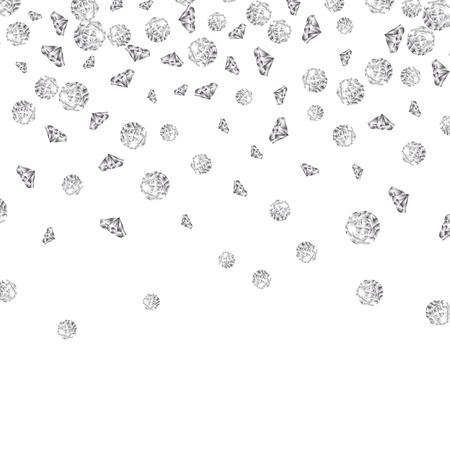 Illustration pour Shiny diamond gems falling isolated. Beautiful luxury jewelry brilliant elegance glowing stones. - image libre de droit