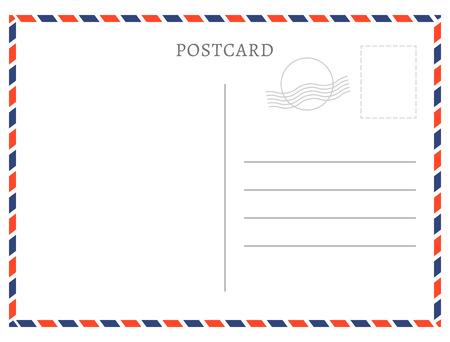 Illustration pour Postcard template paper white texture. Vector postcard empty mail stamp and message design. - image libre de droit