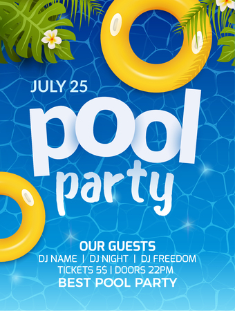 Ilustración de Pool summer party invitation banner flyer design. Water and palm inflatable yellow mattress. Pool party template poster. - Imagen libre de derechos