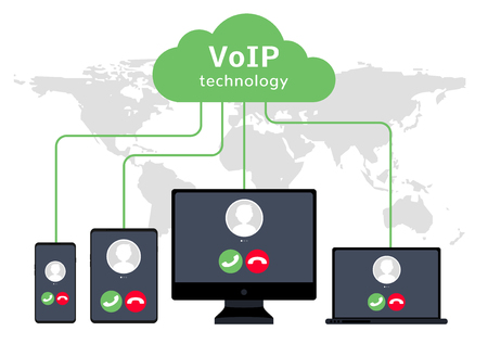 Illustration for VoIP voice over IP illustration smartphone laptop network. Voip call flat concept design. - Royalty Free Image