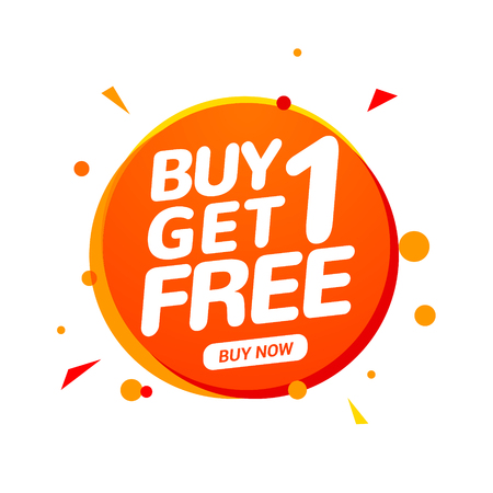 Illustration for Buy 1 Get 1 Free sale tag. Banner design template for marketing. Special offer promotion or retail. - Royalty Free Image