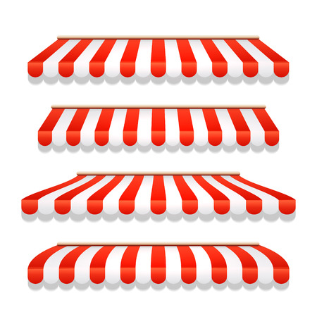 Ilustración de Store awning shop canopy. Store tent red striped roof front view. Restaurant, grocery or cafe awning street umbrella - Imagen libre de derechos