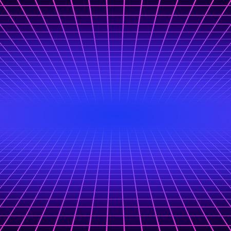 Ilustración de Synth wave retro grid background. Synthwave 80s vapor vector game poster neon futuristic laser space arcade - Imagen libre de derechos