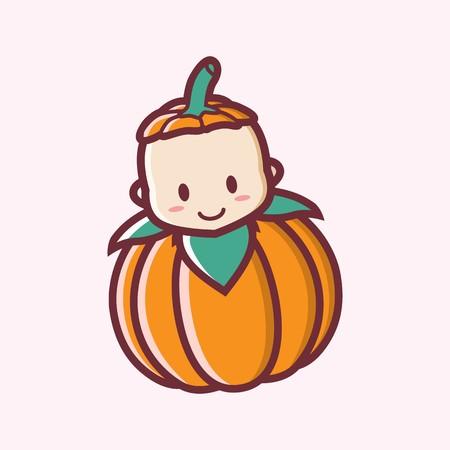 Ilustración de Cute smiling halloween baby pumpkin cartoon vector illustration logo - Imagen libre de derechos