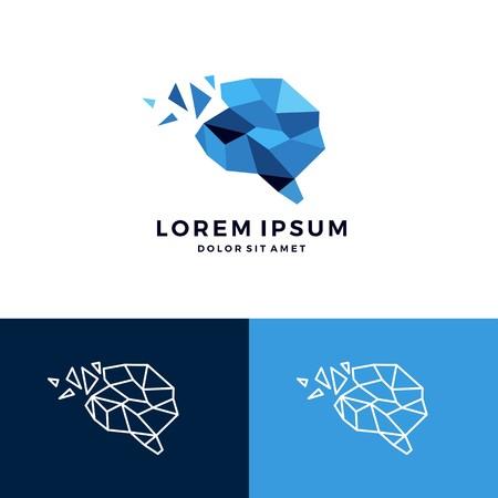 Illustration pour Geometric brain icon smart creative low poly vector download - image libre de droit