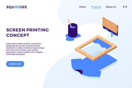 Illustration pour screen printing isometric vector elements illustration landing page website banner cover concept - image libre de droit