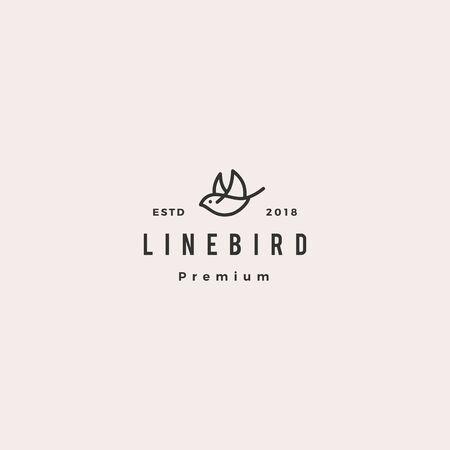 Ilustración de flying bird logo hipster retro vintage line outline monoline vector icon illustration - Imagen libre de derechos