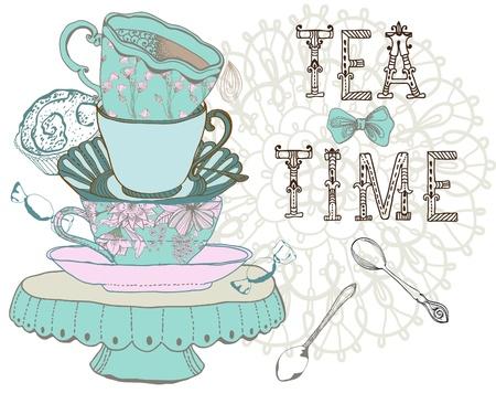 Photo for Vintage morning tea time background. Illustration for design - Royalty Free Image