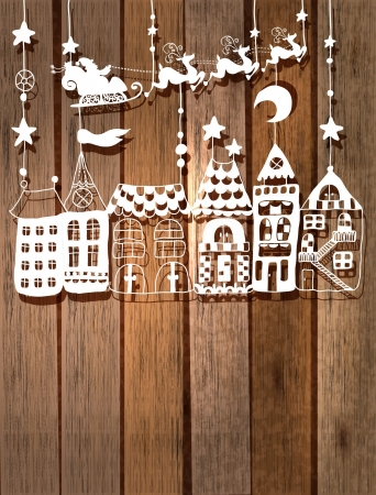 Illustration for New year or Christmas card for holiday design with Santa Claus in sleigh over houses - Royalty Free Image