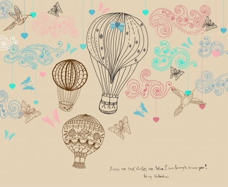 Illustration pour Valentine illustration, hot Air Balloon in sky, hand drawn Background for Design with hearts and birds - image libre de droit