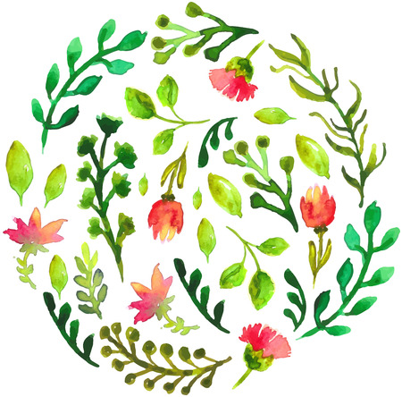 Illustration pour Natural floral circle background with green leaves and red flowers. Vectorized watercolor drawing. - image libre de droit