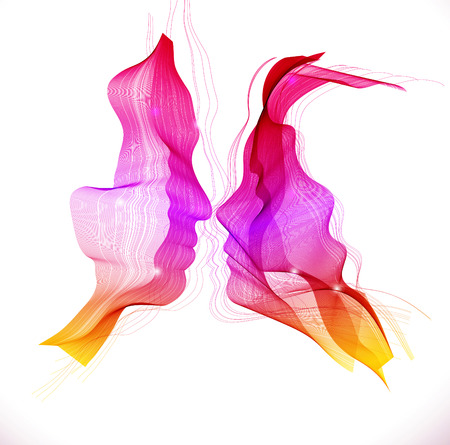 Illustration pour Silhouettes of loving couple, two beautiful color abstract faces - image libre de droit