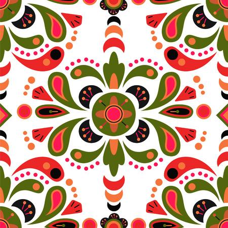Illustration pour Floral damask seamless pattern background, mexican colorful ornament - image libre de droit