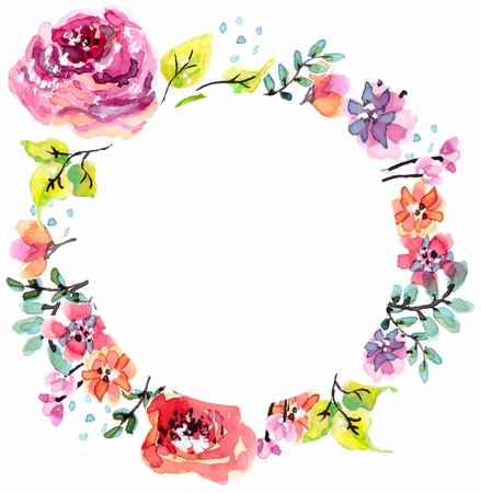 Illustration for Watercolor floral frame, beautiful natural decorations - Royalty Free Image
