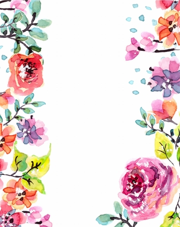 Illustration pour Watercolor floral frame, beautiful natural illustration - image libre de droit