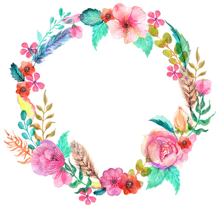 Flower watercolor wreath for beautiful design