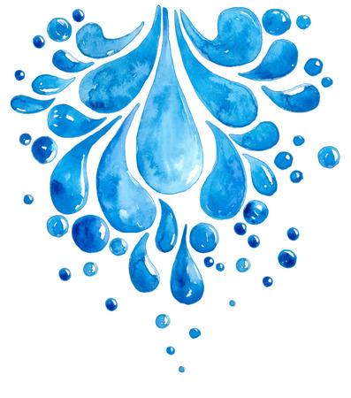 Ilustración de Watercolor Drops of water over white - Imagen libre de derechos