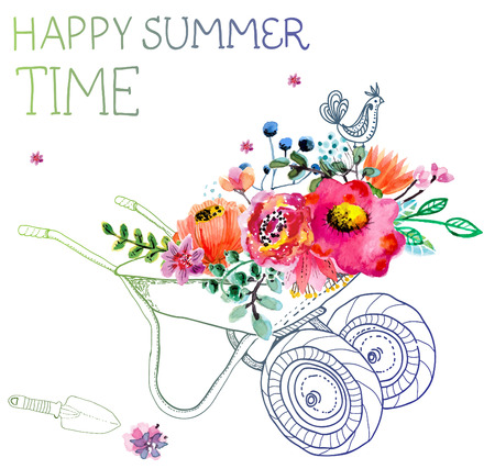 Ilustración de Watercolor flowers and garden trolley over white, beautiful summer illustration - Imagen libre de derechos